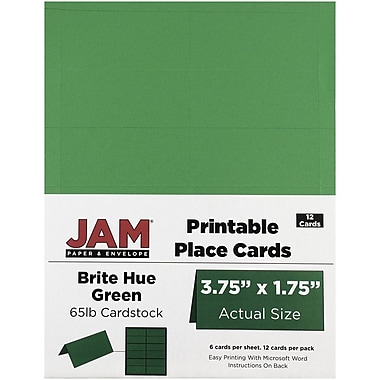 JAM Paper® Printable Place Cards, 1.75 x 3.75, Brite Hue Green Placecards, 2 packs of 12 (225928561g)