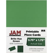 JAM Paper® Printable Place Cards, 1.75 x 3.75, Brite Hue Green Placecards, 12/pack (225928561)