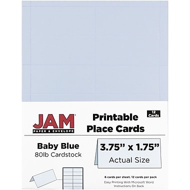 JAM Paper® Printable Place Cards, 1.75 x 3.75, Baby Blue Placecards, 2 packs of 12 (225928568g)