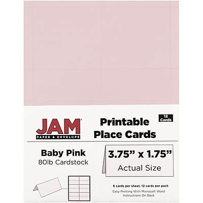 JAM Paper® Printable Place Cards, 1.75 x 3.75, Baby Pink Placecards, 12/pack (225928569)