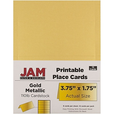 photograph regarding Gold Printable Place Cards identify JAM Paper® Printable Issue Playing cards, 3 3/4 x 1 3/4, Stardream Metal Gold Placecards, 12/Pack (225928571)