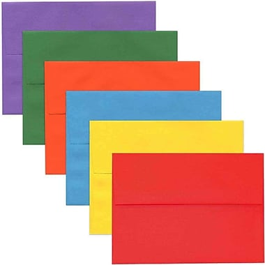 JAM Paper® A7 Invitation Envelopes, 5.25 x 7.25, Brite Hue Assorted, 150/Pack (956A7BRORGVY)