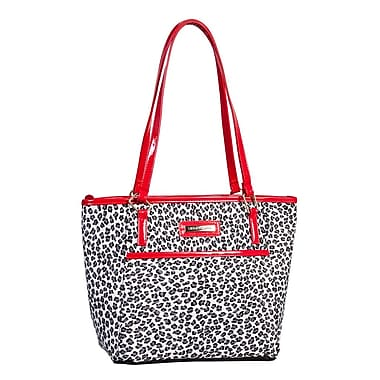 Simon Chang Ladies Polyester Microfiber Leopard Print Cooler Bag, Red