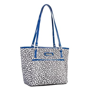 Simon Chang Ladies Polyester Microfiber Leopard Print Cooler Bag, Royal Blue