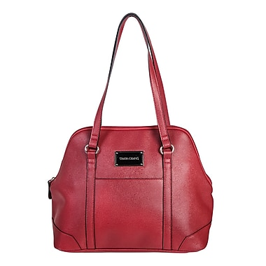 Simon Chang Ladies Faux Leather Dome Satchel Cooler Bag, Red