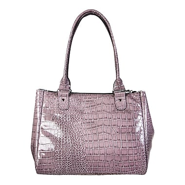 Simon Chang Ladies Faux Leather Croco Print Cooler Bag, Grey