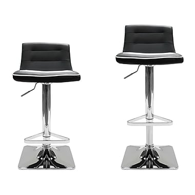 BestMasterFurniture Adjustable Height Swivel Bar Stool (Set of 2); Black / White