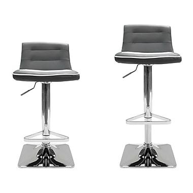 BestMasterFurniture Adjustable Height Swivel Bar Stool (Set of 2); Gray / White