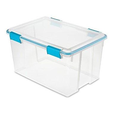 Sterilite – Boîte de rangement étanche, 12 3/4 po x 22 1/2 po x 16 po, transparent/verrous bleus