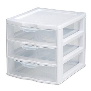 Sterilite Small 3-Drawer Desktop Organizer, White/Clear Drawers