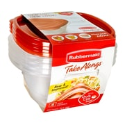 RubbermaidMD – Contenants carrés profonds Take Alongs pour aliments, rouge, paq./4