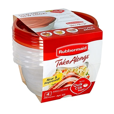 Rubbermaid® Take Alongs Small Bowls Food Containers, Red, 4/Pack