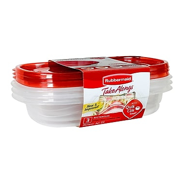 RubbermaidMD – Contenants rectangulaires Take Alongs pour aliments, rouge, paq./3