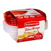 RubbermaidMD – Contenants carrés Take Alongs pour aliments, rouge, paq./4