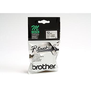 Brother – Ruban d'étiquetage non laminé M931 série M, 12 mm, noir sur argent