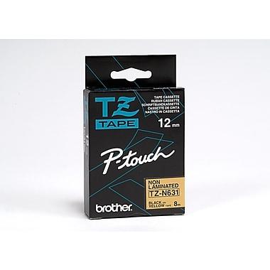 Brother – Ruban d'étiquetage non laminé TZN631, 12 mm, noir sur jaune