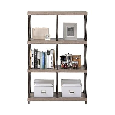 Homestar - Bibliothèque à 4 tablettes/6 compartiments, aspect vieux bois