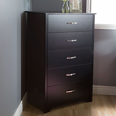 South Shore Fusion 5-Drawer Chest, Pure Black, 31.5