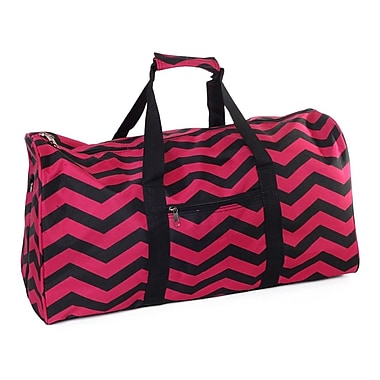 World Traveler Chevron 22'' Lightweight Duffel; Fuchsia / Black