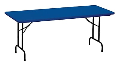 Correll, Inc. R-Series Heavy-Duty Rectangular Folding Table, Blue with Black Frame (R3072)