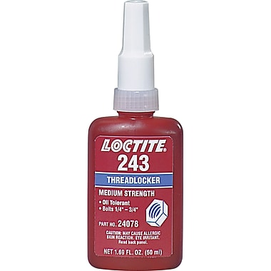 Threadlocker 243 Oil Tolerant/medium Strength, Aa555, 50ml, 2/Pack