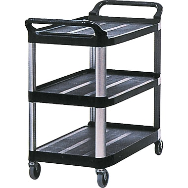Rubbermaid Utility Cart Xtra 3 Shelf Open 300 Lb Cap Black
