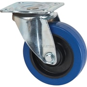 """Blue Elastic Rubber Casters, Tread Width, 1 3/8"""" W, Swivel Casters, Overall Height, 6"""" H"""