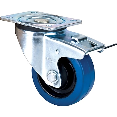 Blue Elastic Rubber Casters, Style, Swivel W/brake, Swivel W/brake Casters, Wheel Diameter, 4