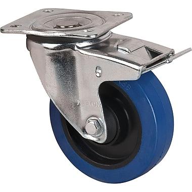Blue Elastic Rubber Casters, Style, Swivel W/brake, Swivel W/brake Casters, Wheel Diameter, 5