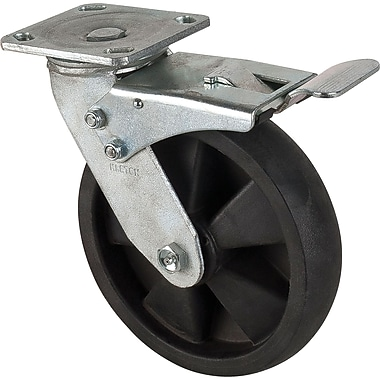 Hi-temp Nylon Casters, Swivel W/brake Hi-temp Casters, Tread Width, 1 3/4