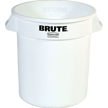 Round Brute Containers, White, 3/Pack