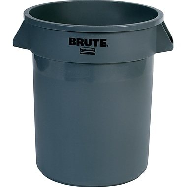 Round Brute Containers, Vented, Grey, Gal 20, 2/Pack
