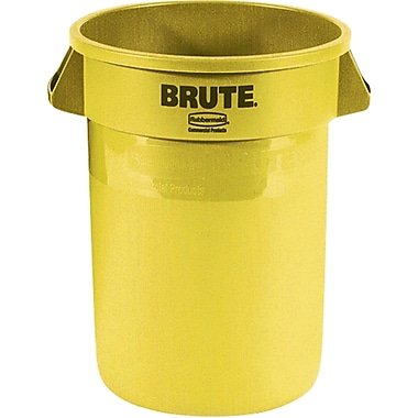 Round Brute Containers, Vented, Yellow, Gal 20, 2/Pack
