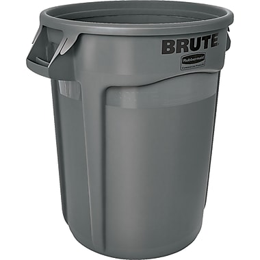 Round Brute Containers, Vented, Grey, Gal 32, 2/Pack