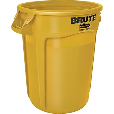 Round Brute Containers, Vented, Yellow, Gal 32, 2/Pack