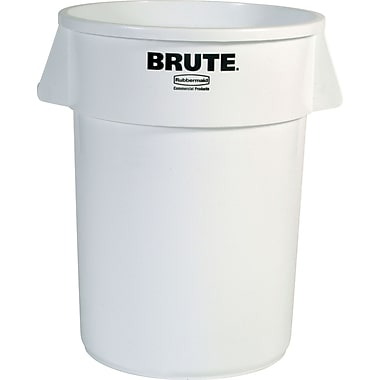 Round Brute Containers, Vented, White, Gal 44
