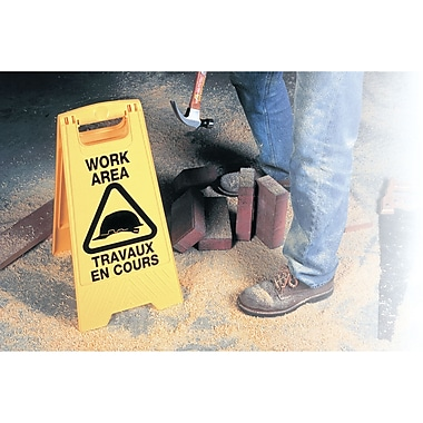 Bilingual Safety Signs, NC549, Work Area/Travaux En Cours, 4/Pack