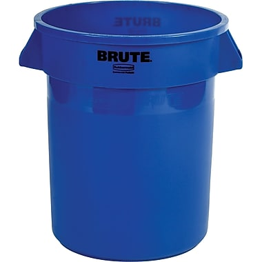 Round Brute Containers, Vented, Blue, Gal 20, 2/Pack