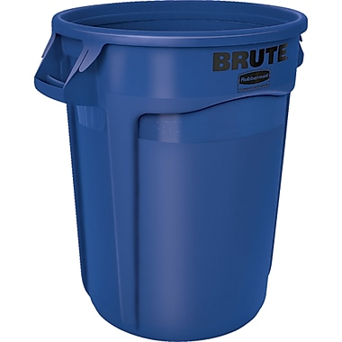 Round Brute Containers, Vented, Blue, Gal 32, 2/Pack