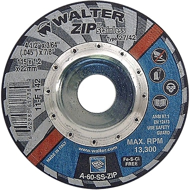 Zip Stainless Right Angle Grinder Reinforced Cut-off Wheels, Qty/pk 12, Ns777
