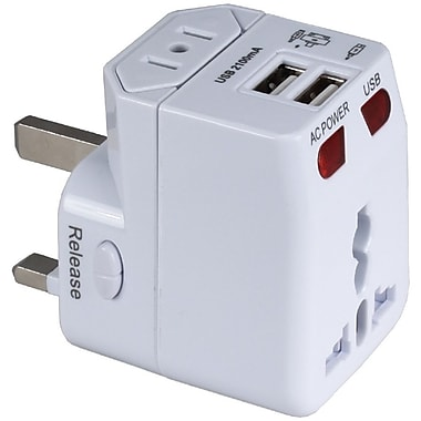 QVS® Premium World Travel Power Adaptor with Surge Protection, White, Dual-USB (PA-C4)