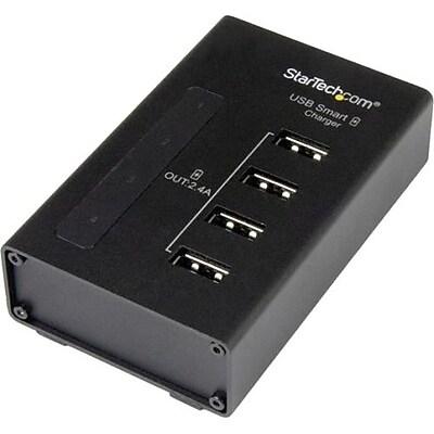 StarTech 4-Port USB Charging Station, Black (ST4CU424)
