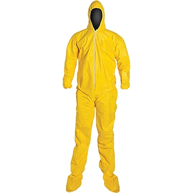Coverall Tychem Qc Hood/boots Yellow, Xl, 4/Pack