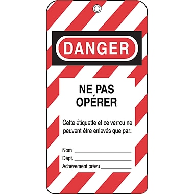 Honeywell French Lockout Identification Tags, SE338, Lockout Identification Tag, 50/Pack