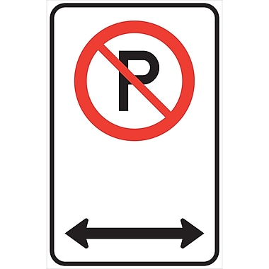 Traffic Sign, No Parking w/Arrow, 12x18, Alu.064nonrefl, 3/Pack
