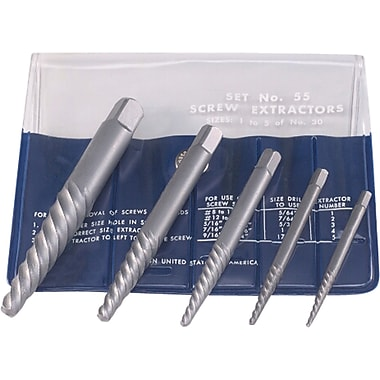 Screw Extractors, 5-pc. Screw Extractor Set In Fold-up Pouch