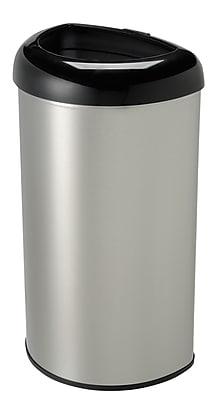 Nine Stars Stainless Steel Open Top Trash Can, 13.2 Gallon, Black (OTT-50-19BK)