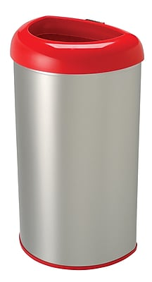 Nine Stars 13.2gal Stainless Steel Open Top Trash Can, Red (OTT-50-19RD)