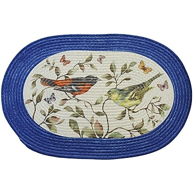 Achim Importing Co Love Birds White and Blue Area Rug