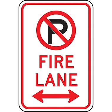 Parking Signs, Fire Lane with No Parking Pictogram & Arrow